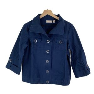 CHICO'S Blue Jacket 3/4 Sleeves Chico's Size 1